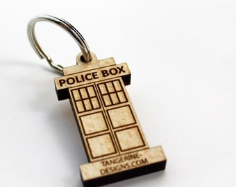 Police Box WPI Gauge, Laser Cut Wood, Keychain, Spinners Friend