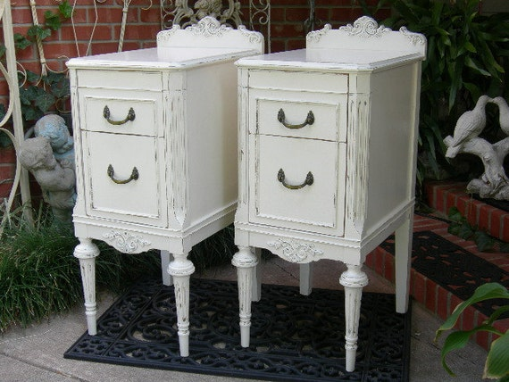 CUSTOM ORDER Pair of Shabby Chic NIGHTSTANDS Bedside Tables - White Aqua Blue Antique Distressed Bedroom Furniture