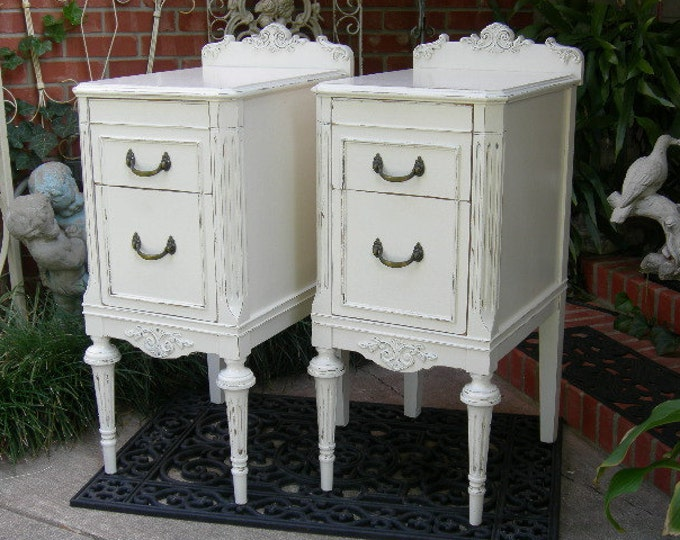 PAINTED NIGHTSTANDS! Antique Pair Of Nightstands Sourced Restored and Painted To Order Shabby Chic Furniture