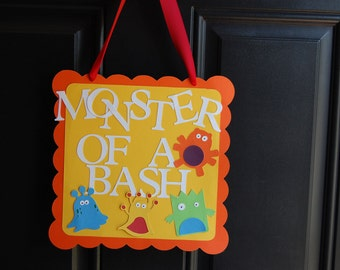 Monster Door Sign, Monster Party, Monster Party Supplies, Birthday Door Signs, Monster of a Bash