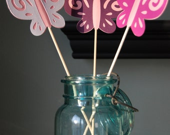 Butterfly Centerpieces, 9 Pieces, First Birthday, Butterfly Birthday, Butterfly 1st Birthday