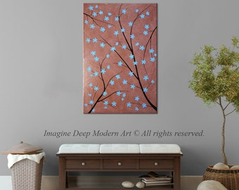 Painting Light Blue Flower Blossom Tree Branch Tan Brown Terracotta Black Large 24x36 High Quality Original Modern Fine Art
