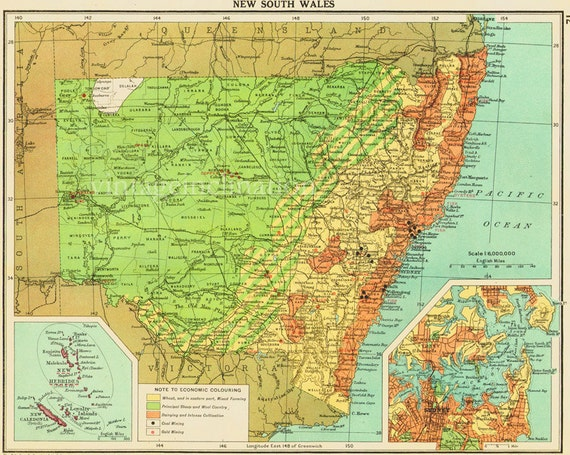 Vintage New South Wales, AUSTRALIA map, map of NSW Australia with state boundaries, cities including Sydney, Wollongong