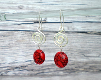 Red  Swirls and Stones Earrings