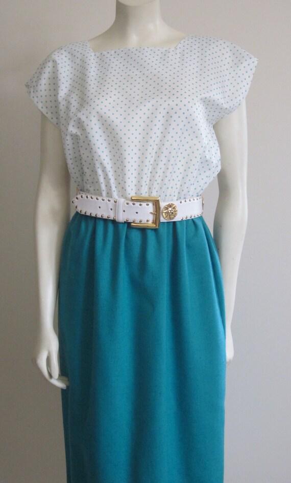 Spring Dress 1980s / Teal / Polka Dot / Kathy J / Boat Neck / Short Sleeve / Summer /