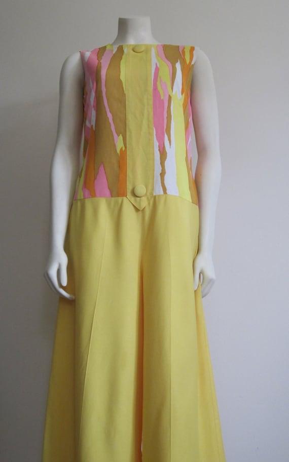 Tori Richard Jumpsuit Vintage 1960s Tori Richard Honolulu Palazzo Pants Mod Groovy Hawaiian Dress Bold Print Pastels