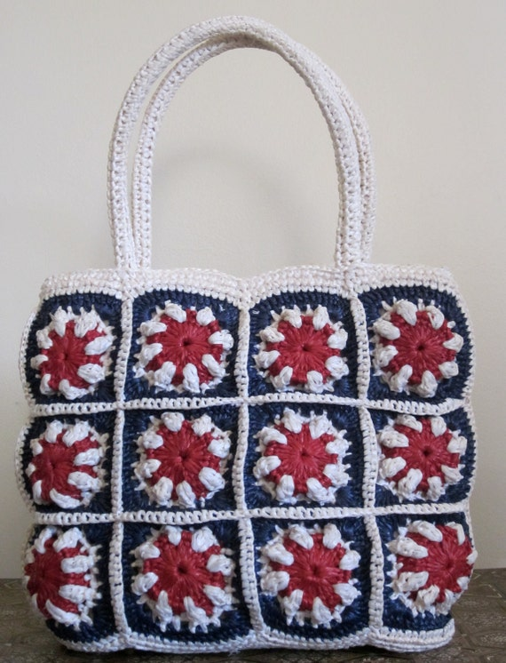 Nautical Bag / 1960s Bag / Red White and Blue / Straw Bag / Patriotic / 4th of July / Preppy Bag / Summer Tote / Top Handle Bag