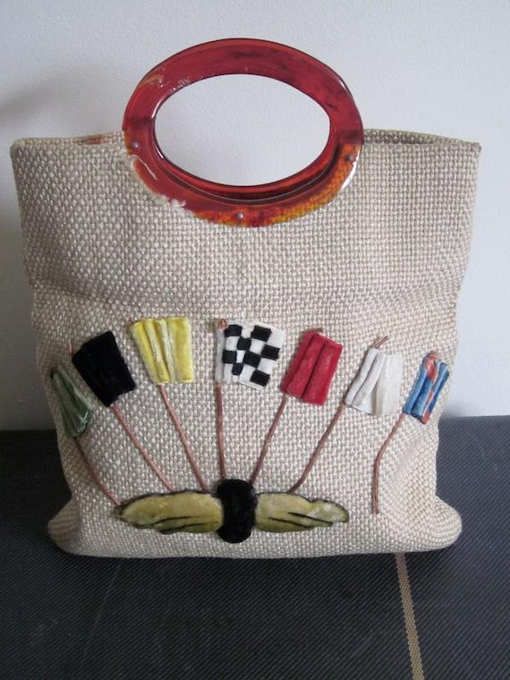Tote Bag 1930s / Indy 500 / Collectible Bag / Indianapolis 500 / Rare / Neutral / Spring / Flags / Preppy / Boho / Car Racing