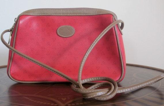 Liz Claiborne Bag Vintage 1980s Red Logo Crossbody Nautical Shoulder Bag 1985 Color Pop