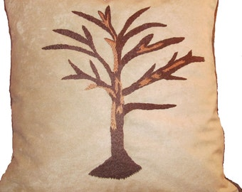 Hand-Embroidered Tree Pillow