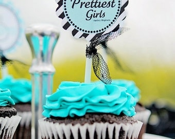 Breakfast at Tiffany's Themed Party Circles, Cupcake Toppers, Tags