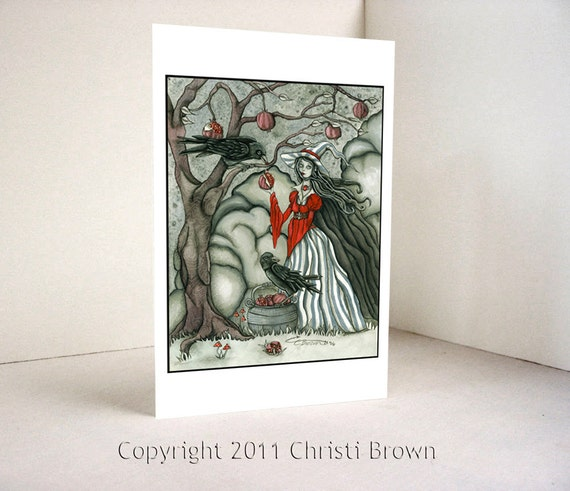 Witch Crows Raven Halloween Samhain Greeting Card Pomegranates