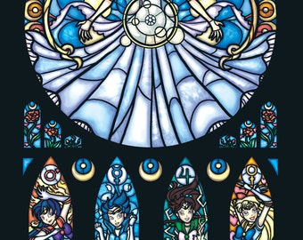 Half Size - Sailor Moon Stained Glass Illustration