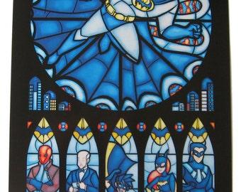 Half Size - Stained Glass Batman Print