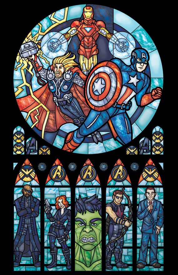 Half Size -  Avengers Stained Glass Illustration