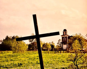 The Crooked Cross- New Orleans Photography- Church and Cross- Matted Photos