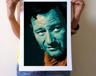 John  Wayne Art Giclee Print -A3 Portrait