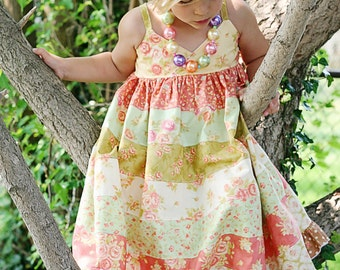Piper's Stripwork Maxi Dress PDF Pattern sizes 6-12 months to 8 girls