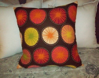 Multicolored Circles on Dark Brown Waverly Fabric Pillow