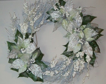 Holiday Magic Silvery White and Green Poinsettias on White Twig Wreath