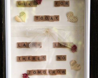 "SALE Large 11 x 14 white Shadow box wall hanging - ""Live for today. laugh like theres no tomorrow"""