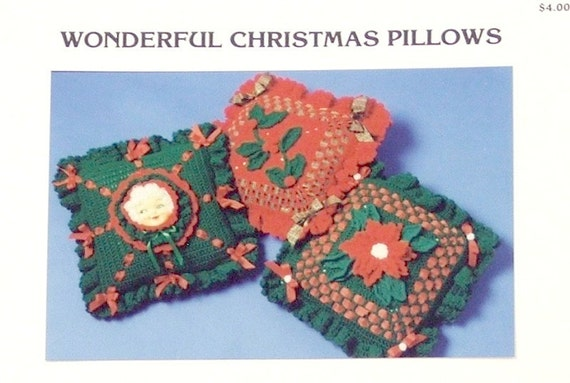 PDF Pattern - Crochet CHRISTMAS PILLOWS - 3 Fabulous Crochet Holiday Pillow Patterns. Poinsettia,Holly,Mrs Claus. Ruffle Edges, Ribbons