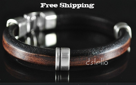 Man Brown Leather Bracelet -Thick Spanish leather- Hammered Clasp - Men Gifts