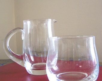 Vintage Bohemia Crystal cream and sugar set - Diana pattern imported by Belfor