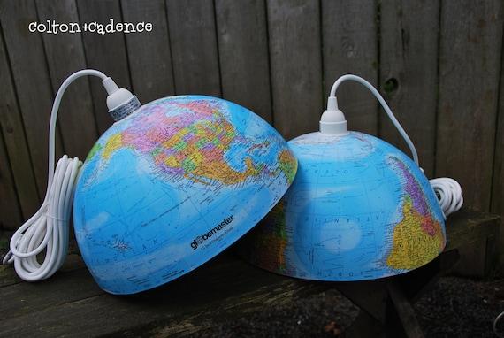 GRAND OPENING SALE on pair of vintage world globe pendant lights