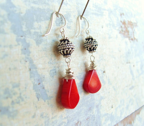 Red Coral Earrings. Bali Sterling Silver Dangle Earrings. Wire Wrapped Briolette Earrings. Coral Jewelry. Red Coral Jewelry