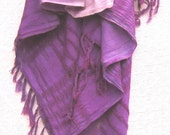 Purple Ombre Shawl, Handwoven with Fringe, Hand Dyed