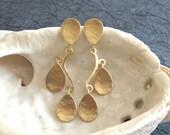 Gold drop earrings , Gold teardrop dangle post earrings , Long stud earrings , Handmade by Adi Yesod