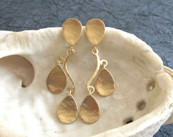 Gold drop earrings , Gold teardrop dangle post earrings , Long stud earrings , Handmade by Adi Yesod