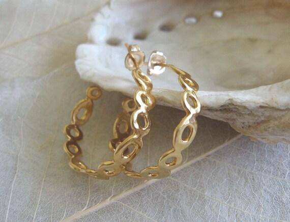 Gold Hoop Earrings , Asymmetric organic hoops , Gold circle earrings , Handmade by Adi Yesod