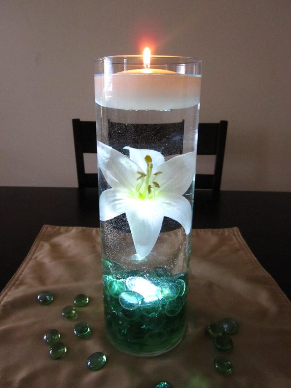 Items similar to white lily centerpiece kit with sea green