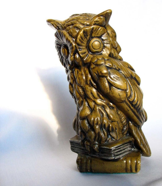 Vintage Owl Sculpture Woodland Statue or Bookend Bronze Painted Mid Century Figurine