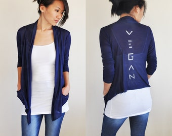Vegan Clothing: Navy Open Neck Shawl Top