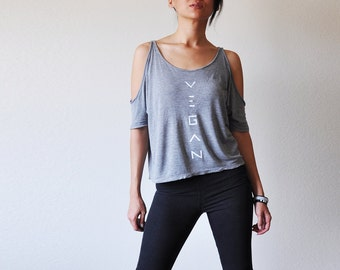 Vegan Clothing: Grey Split Sleeve Loose Top (Size Medium)