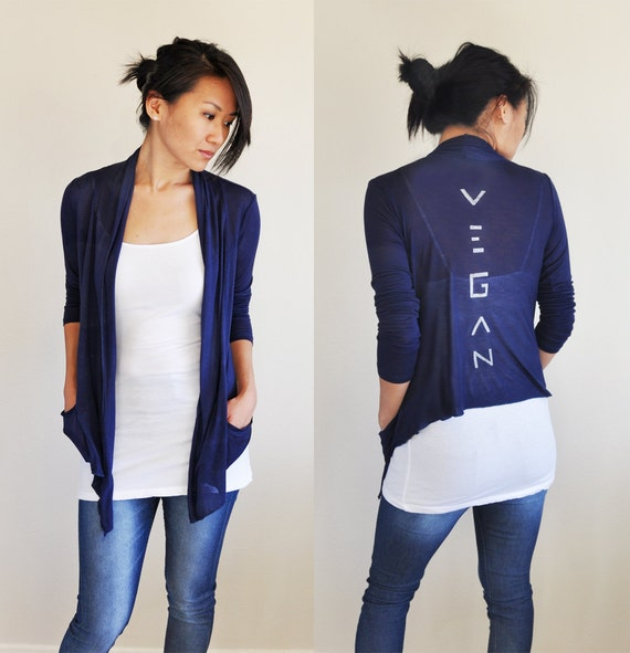 Vegan Clothing: Navy Open Neck Shawl Top