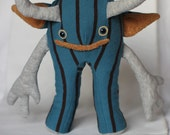 SALE: Mendrick - monster plush recycled demon creature reused blue brown soft cute cuddly toy