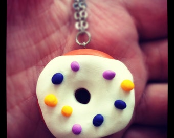 Doughnut Necklace (large) with Light Purple, Dark Purple and Yellow Sprinkles