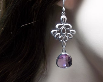 Chandelier earrings - Amethyst -  czech glass - Bridal jewelry - Sterling silver - French style ear wires - Bridesmaids - prom -Gift