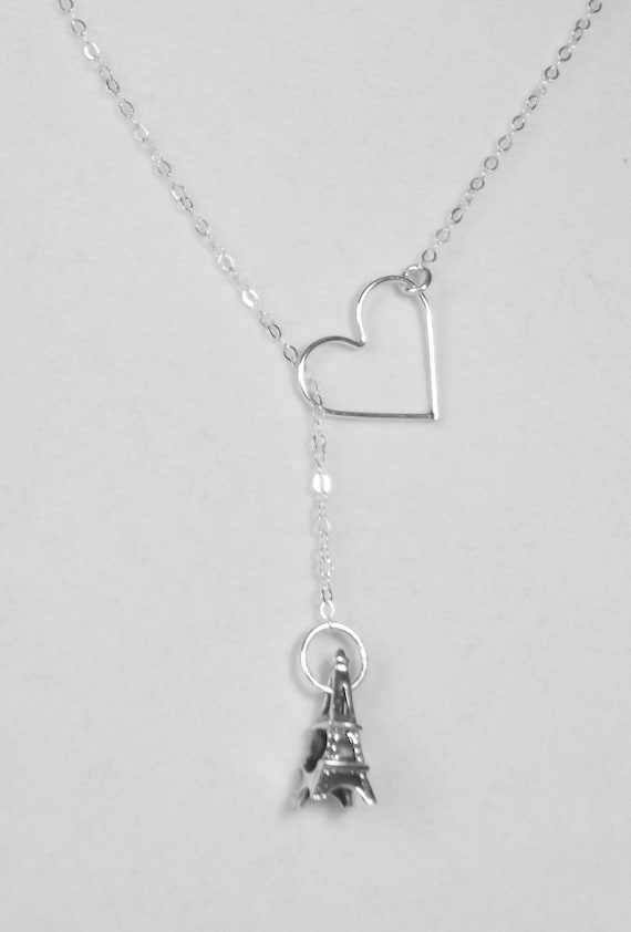 Eiffel Tower Necklace - I LOVE PARIS - France - Sterling Silver Pendant - Lariat -  Forever Jewelry -
