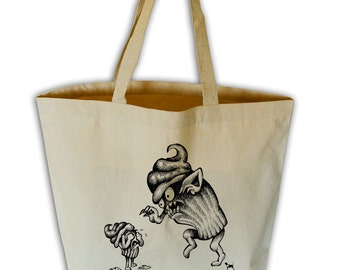 Cupcake Terror Natural Canvas Grocery Tote Bag
