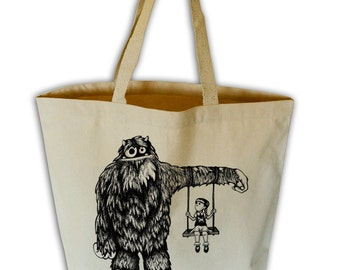 Monster Camouflage Natural Canvas Grocery Tote Bag