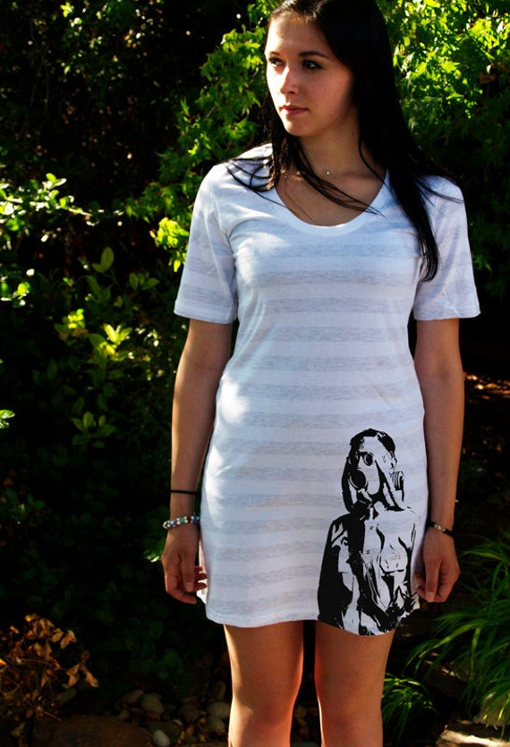 CLEARANCE Gas Mask Soldier White/Gray Stripe T-Shirt Dress