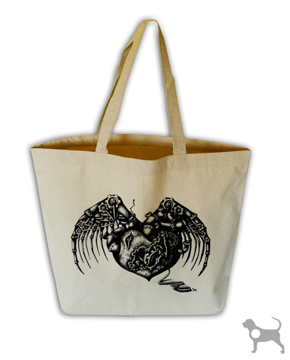 Steampunk Heart Natural Canvas Grocery Tote Bag