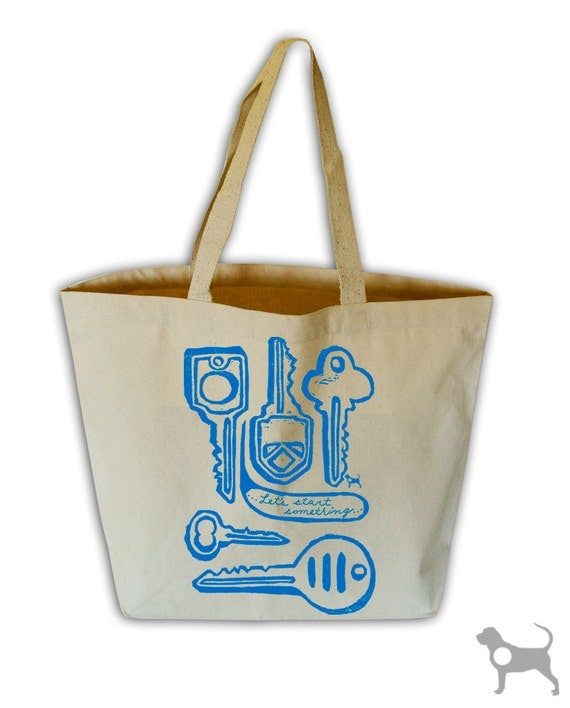 Let's Start Something Natural Canvas Grocery Tote Bag