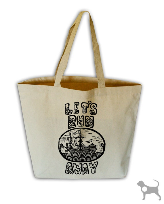 Let's Run Away Natural Canvas Grocery Tote Bag