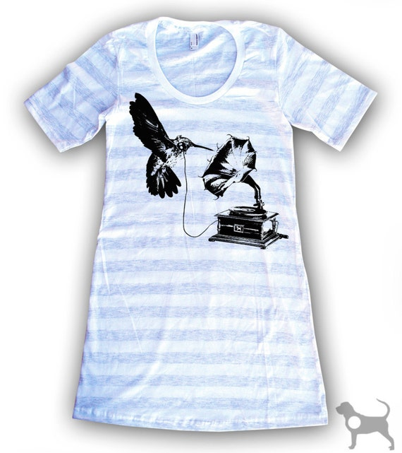 CLEARANCE DJ Hummingbird White/Gray Stripe T-Shirt Dress